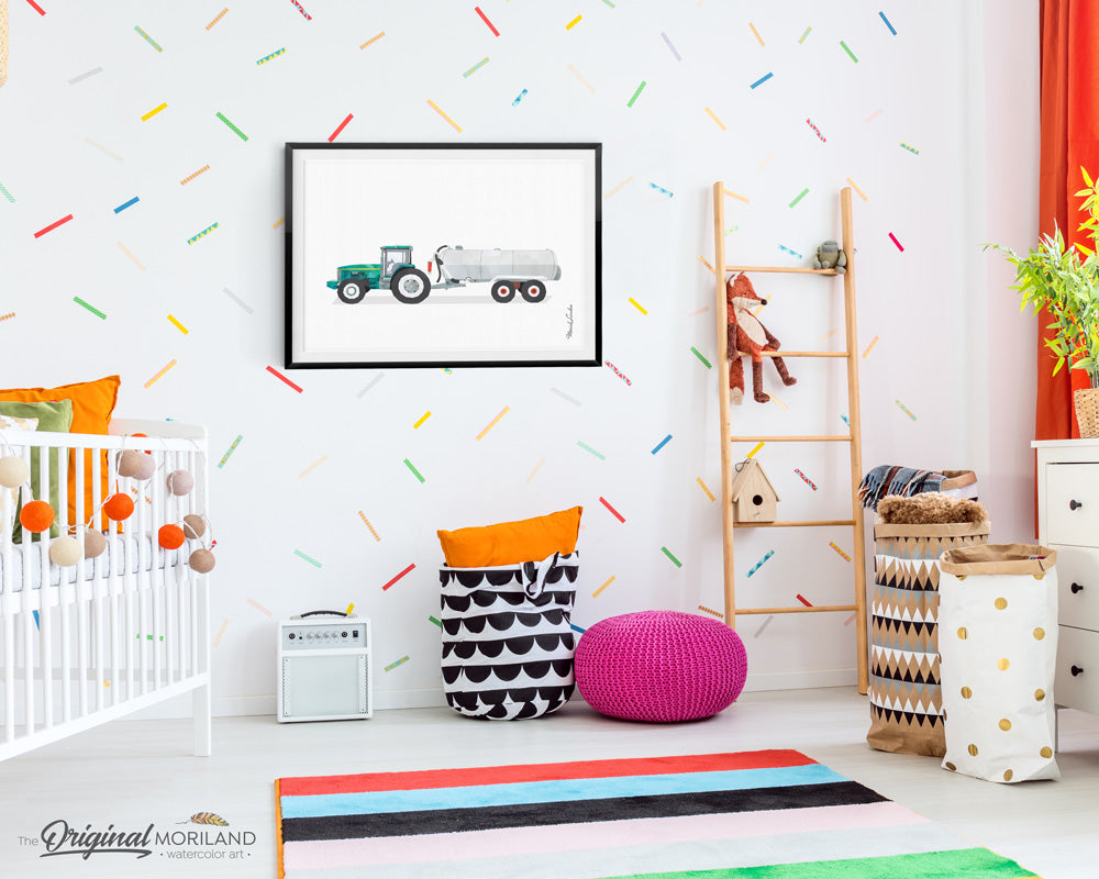 tractor with tanker watercolor wall art print for boy room and nursery decor