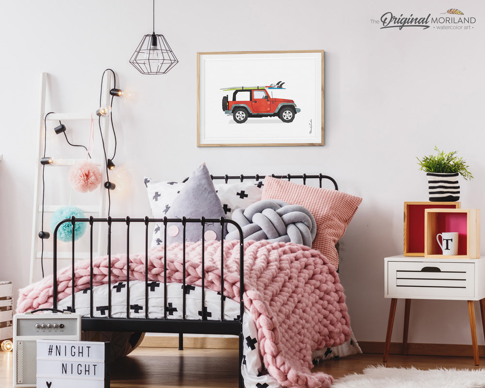 Jeep with surfboard wall art poster print for bedroom decor