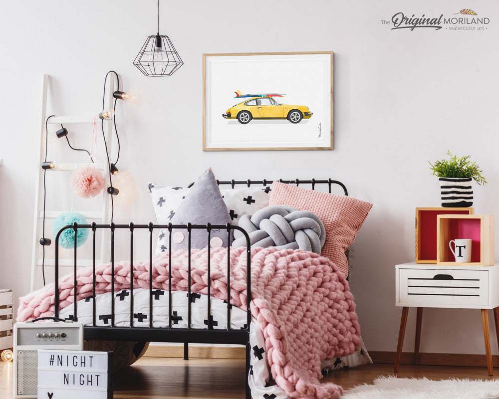 classic Porsche 911 Print with Surfboard wall art print
