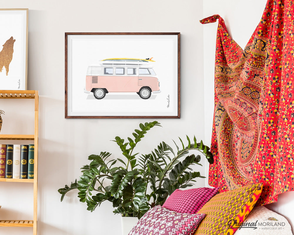Pink VW Bus van Wall Art Print for girls room decor