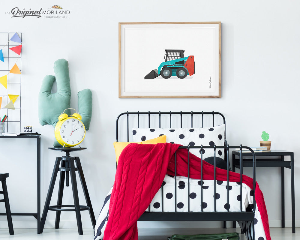 Turquoise Skid Steer Print for big boy room decor