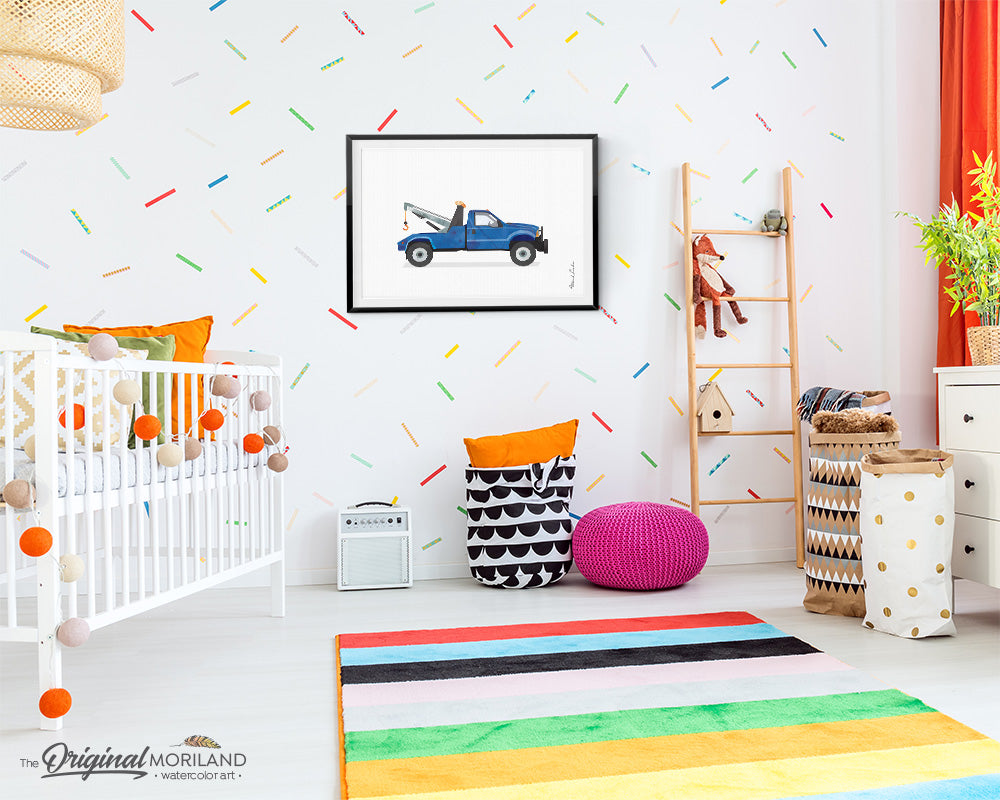 Blue Tow Truck wall art print for boy bedroom decor