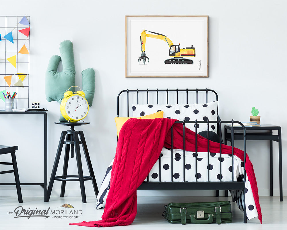 Material Handler digger Excavator Wall art for boys bedroom decor