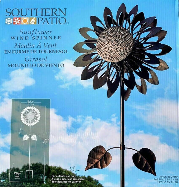 Southern Patio Sunflower Wind Spinner, 60cm x 213cm H