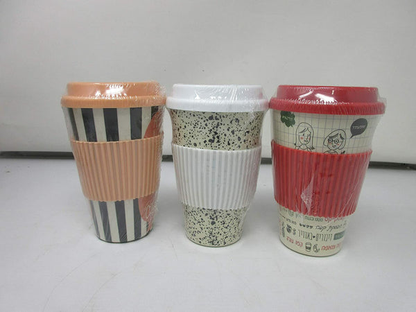 Ecoffee Cup - 3 pack, Reusable Coffee Cup 400ml, Organic Natural Bamboo Fibre