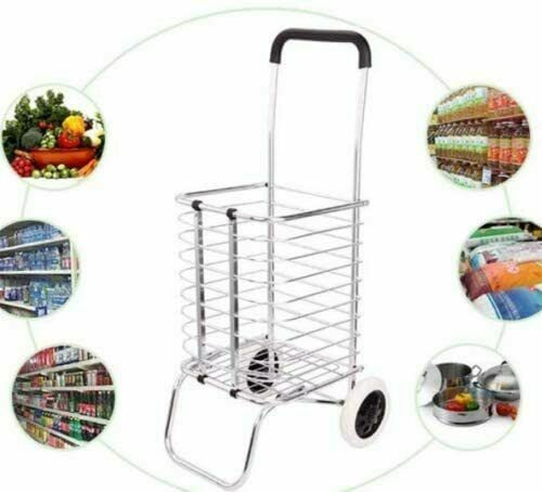 Aluminum Alloy Foldable Shopping Trolley Folding Portable Lightweight with A Bag