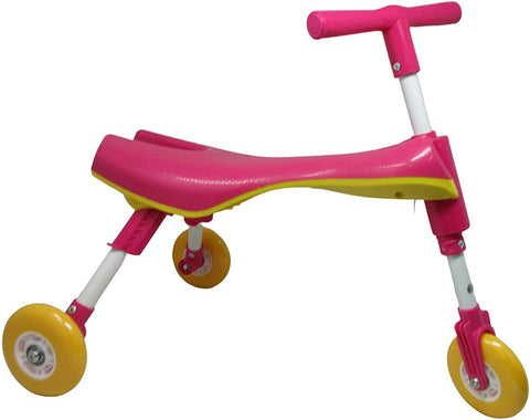 SUPER TOYS Folding trike Baby Tricycle | Walker Scuttle Bug scooter 43cm | Comfortable Ride On Children's Super Wheel Toddlers' Tricycle (Pink)