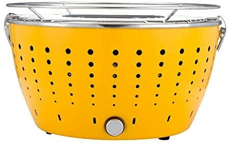 Super grills BBQ Portable Fire pit Smokeless Fan Assisted hiking party picnic Charcoal Grill With Carry Case new (Yellow), Easy handling