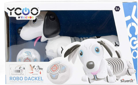 SilverLit 88570 Robo Dash/Dackel, Remote Control Dog for Kids, White