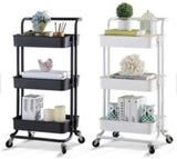 SUPER7 Super 3-Tier Storage Cart Rolling Trolley Cart full Metal Utility shelves with Wheels and Handles for Kitchen Makeup Bathroom Office (Black)