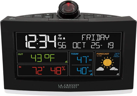 La Crosse Technology Wi-Fi Projection Alarm Clock with AccuWeather Forecast
