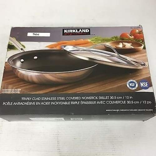 Kirkland Signature Skillet Covered Tri-Ply Clad Nonstick Stainless Steel 12 Inch - Super Bargain UK LTD