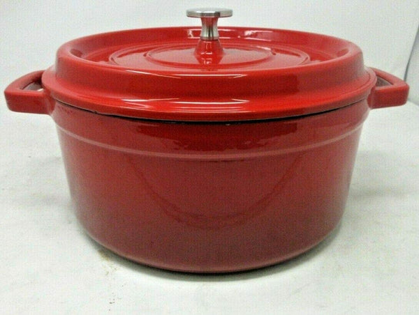 26/24/22/20 Cast Iron Traditional Non Stick Casserole Dish Cooking Pot Pan Cookware Sets Red with Lid Dual Handles