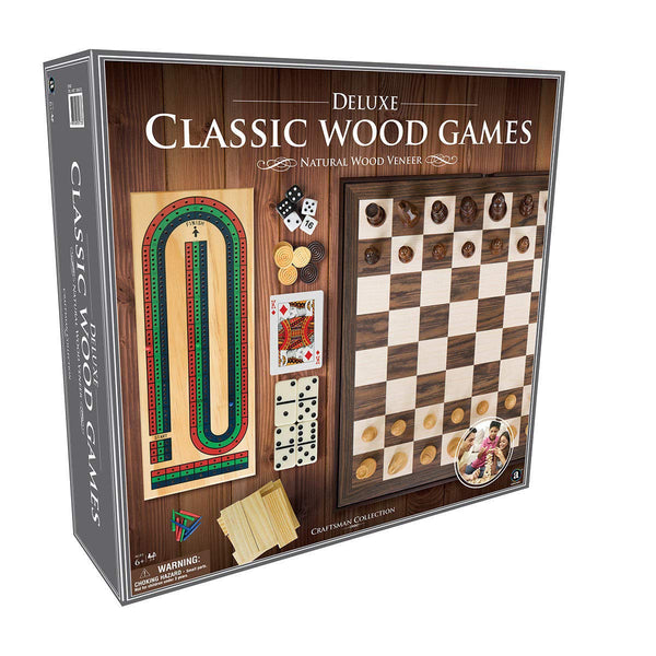 Classic Wood 6 in 1 Game Set in Natural Wood(Chess, Draughts,Dominoes,Backgammon, Cribbage, Tumblin' Tower) - Super Bargain UK LTD