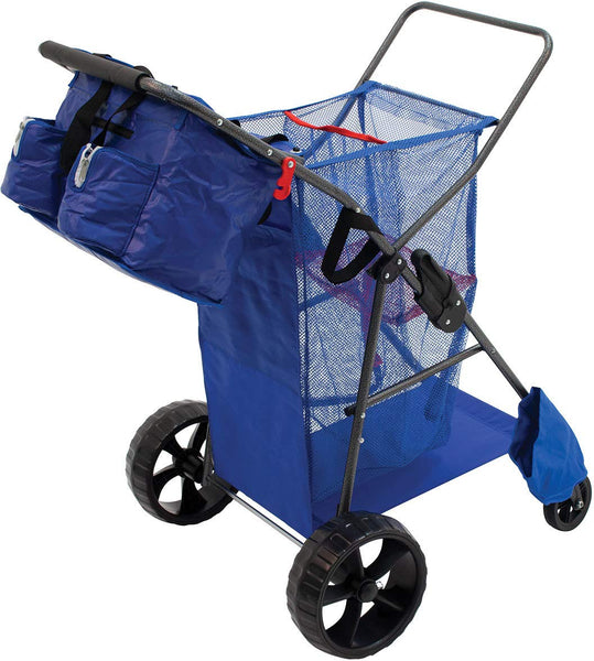 Rio Beach Deluxe Wonder Wheeler Wide Beach Cart with a Removable Tote with Shoulder Strap - Super Bargain UK LTD
