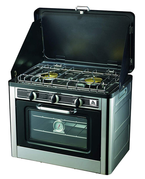 Super grills Camping Gas Oven Portable Stainless Steel Outdoor 2 burner hob cooking baking - Super Bargain UK LTD