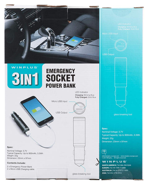 Winplus AC55925-80 3-in-1 Power Bank - Super Bargain UK LTD