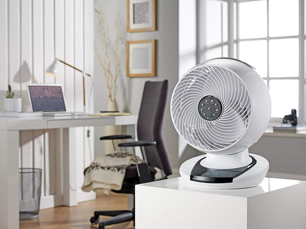 Meaco MeacoFan 1056 Air Circulator, Bedroom, Desk Fan, Low Noise, Energy efficient, Whole Room Cooling, White [Energy Class A] - Super Bargain UK LTD