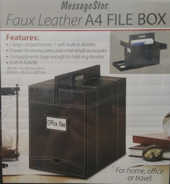 Faux Leather A4 File Box for Home Office Travel Messagestor - Super Bargain UK LTD