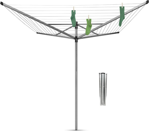 Brabantia Lift-O-Matic Large Rotary Airer Washing Line with Metal Soil Spear, 60 m Silver - Super Bargain UK LTD