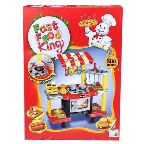 SUPER TOYS Kitchen Play Set for Kids, oven, stove, cash register, pan, teflon, knife, spoon, fork, bread etc, with Accessories - Super Bargain UK LTD