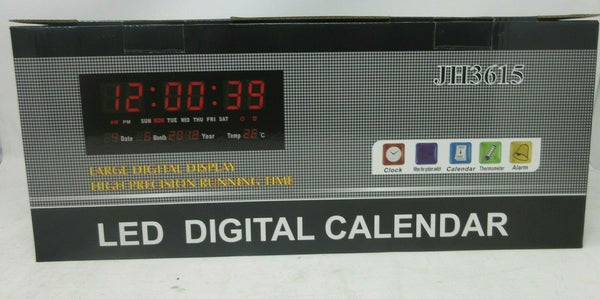 "14"" large LED Wall Desk Alarm Clock With Calendar Temperature - Super Bargain UK LTD"