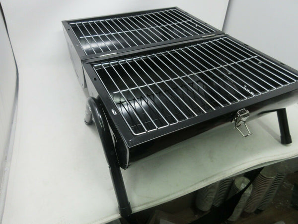 Portable Camping Barrel BBQ Charcoal Barbecue Grill Table Top Black and Chrome - Super Bargain UK LTD