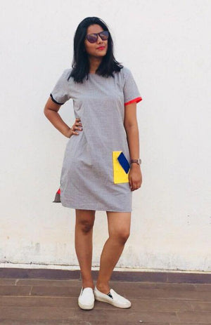 Grey Color Pop Pocket Dress