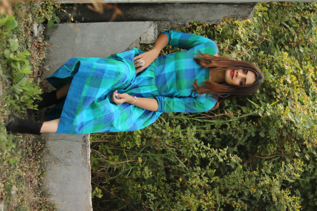 Blue Buffalo Gingham Dress - Threeness Designs