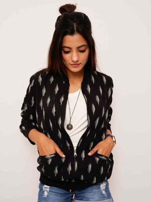 Black Ikat Bomber Jacket - Threeness Designs