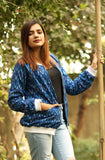 Blue Ikat Bomber Jacket - Threeness Designs