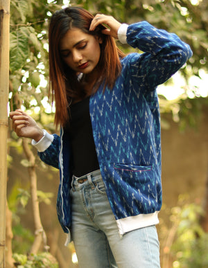 Blue Ikat Bomber Jacket