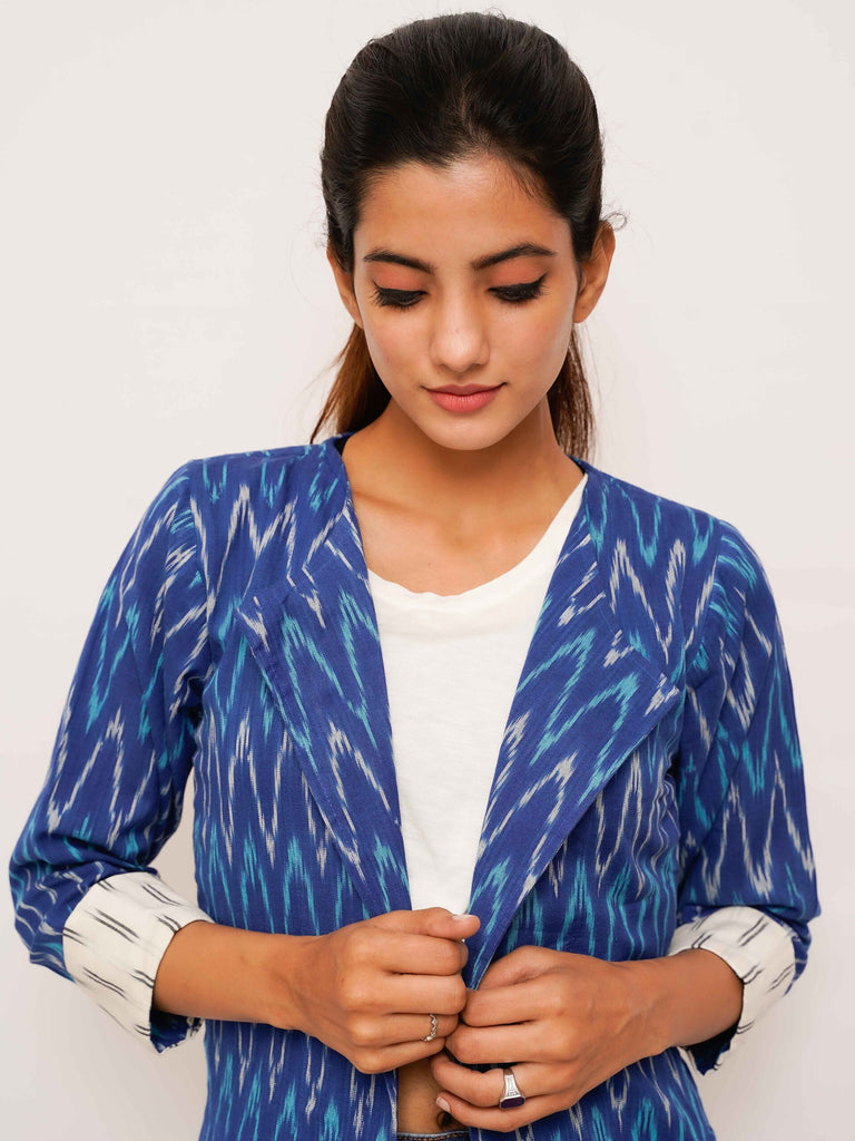 Blue Ikat Jacket - Threeness Designs
