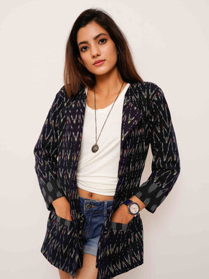 Blue Ikat Blazer Jacket