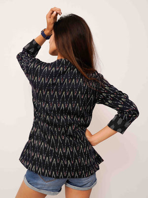 Blue Ikat Blazer Jacket - Threeness Designs