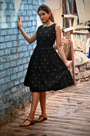 Black Leaf Dress - Threeness Designs