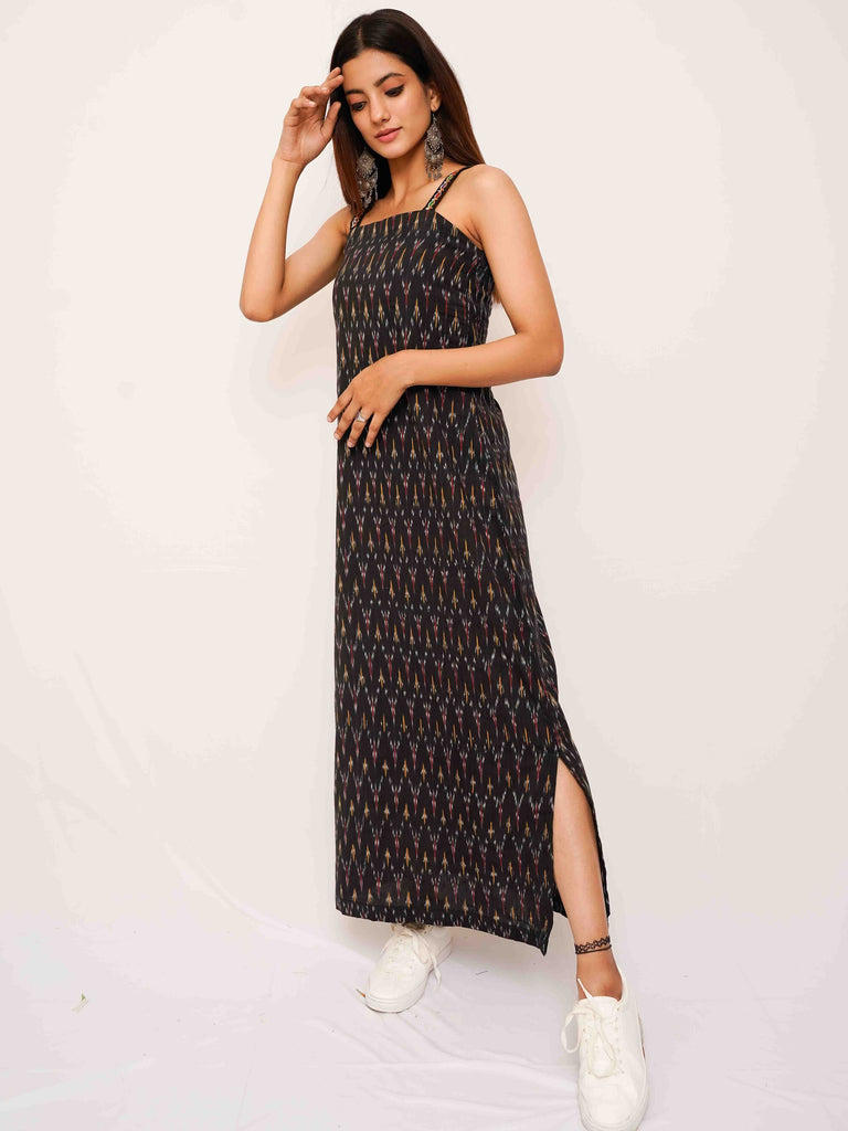 Black Ikat Slip Dress - Threeness Designs