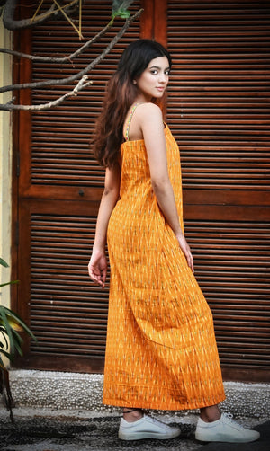 Mustard Ikat Slip Dress - Threeness Designs