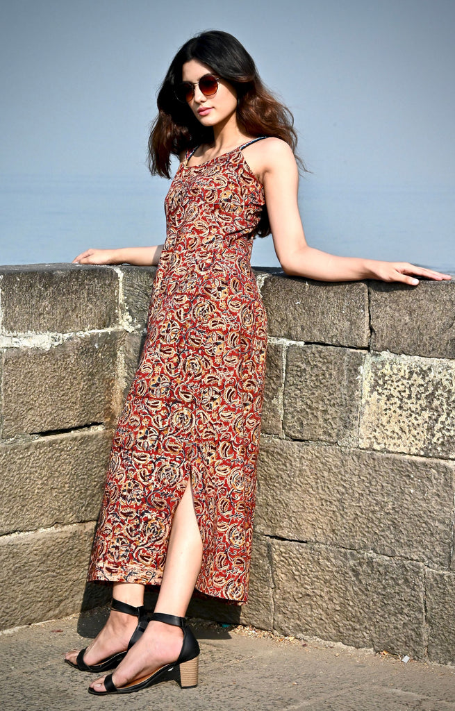 Kalamkari Slip Dress - Threeness Designs