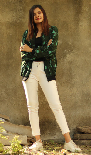 Green Ikat Bomber Jacket - Threeness Designs