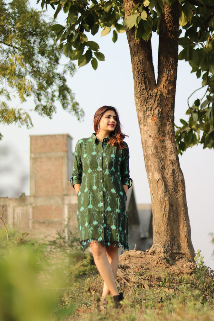 Green Ikat Fringed Shirt Dress - Threeness Designs