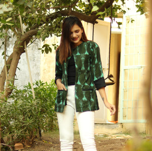 Green Ikat Blazer Jacket - Threeness Designs