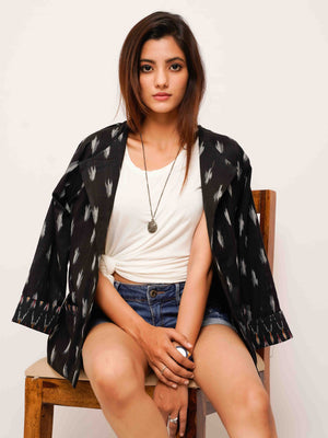 Black Ikat Blazer Jacket - Threeness Designs