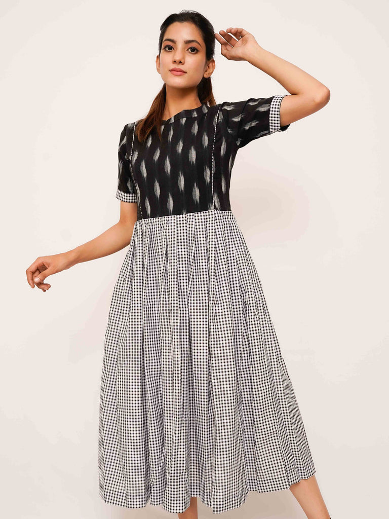 Ikat Gingham Dress - Threeness Designs