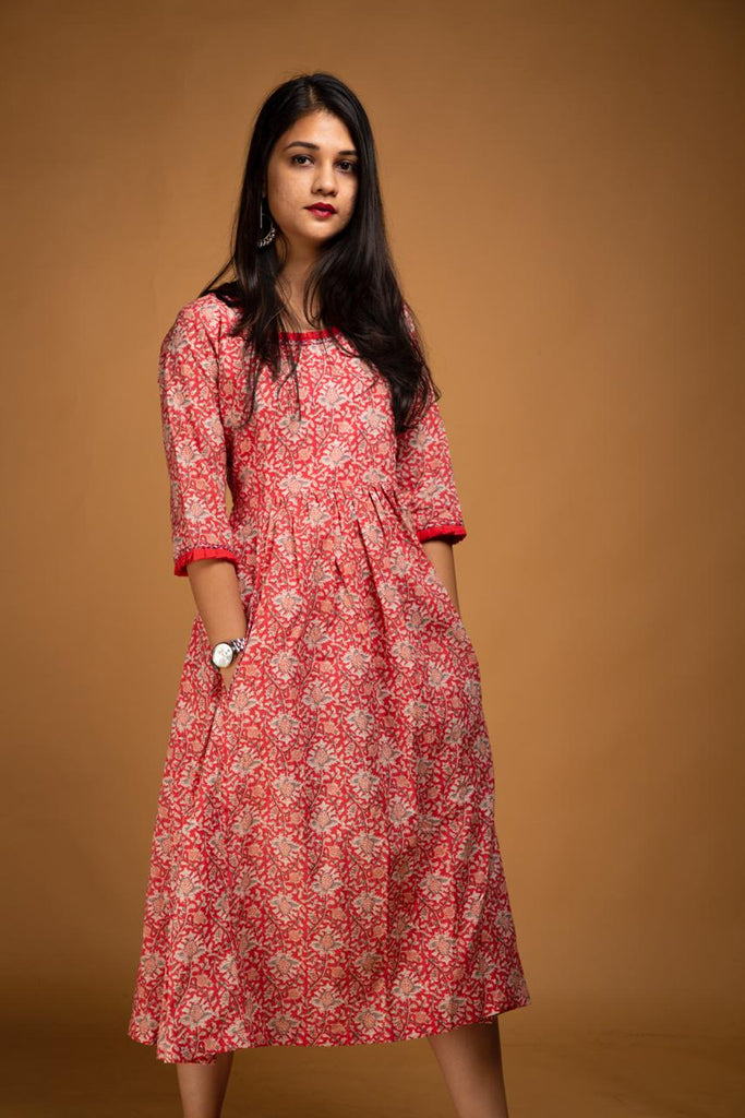 Red Jaipuri Print Midi Dress - Threeness Designs