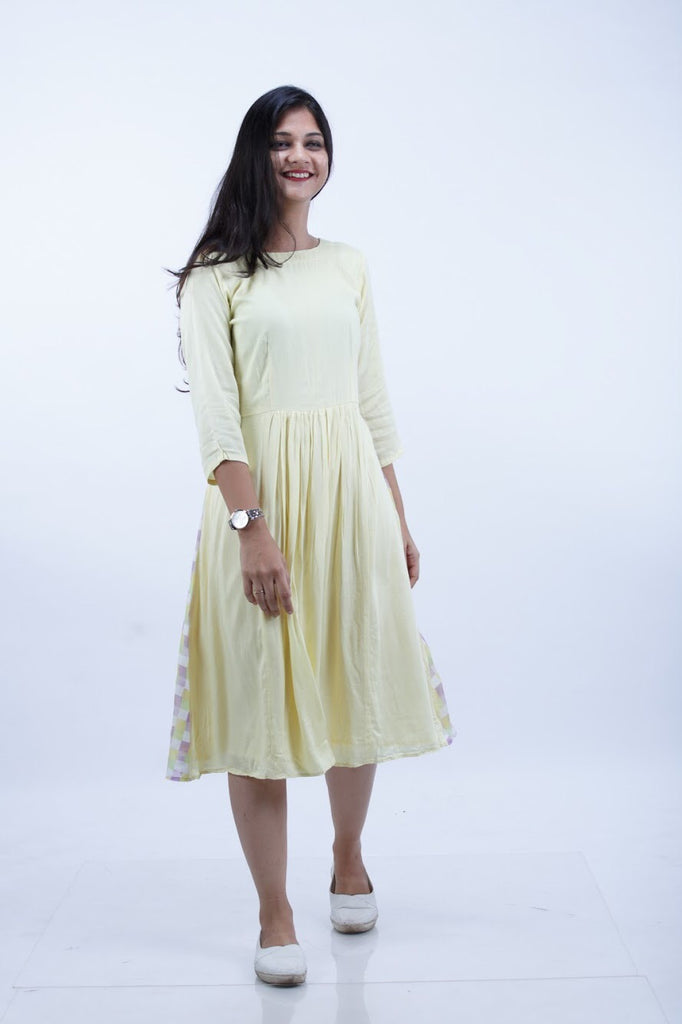 Pastel Yellow Dress With Back Printed - Threeness Designs