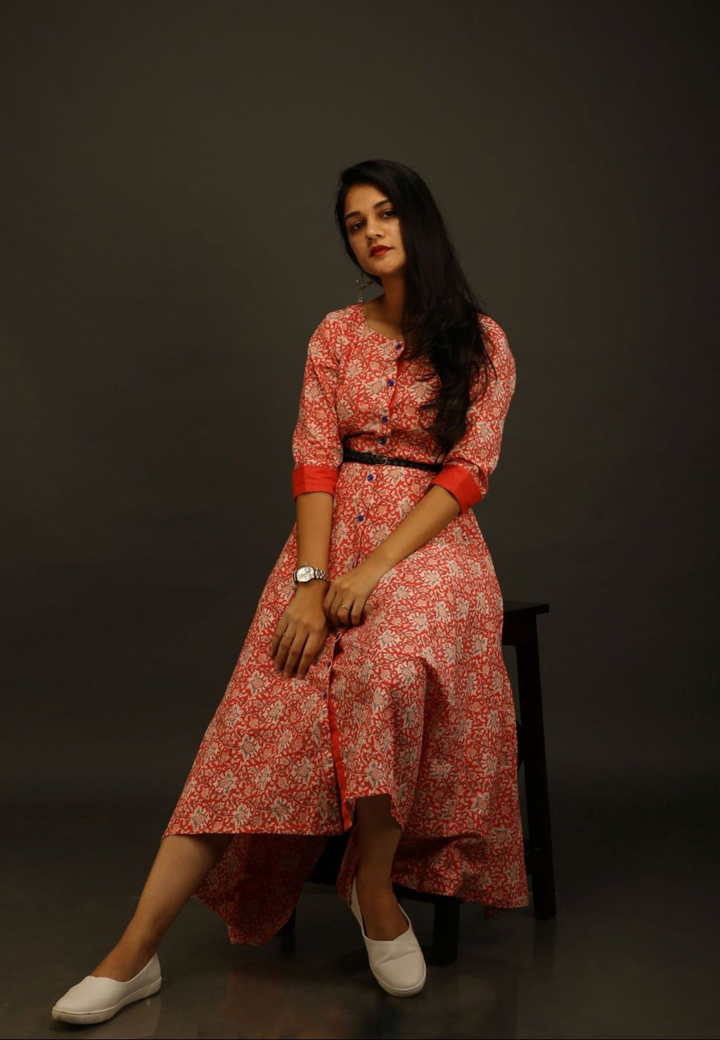 Red Jaipuri Print Asymmetric Dress