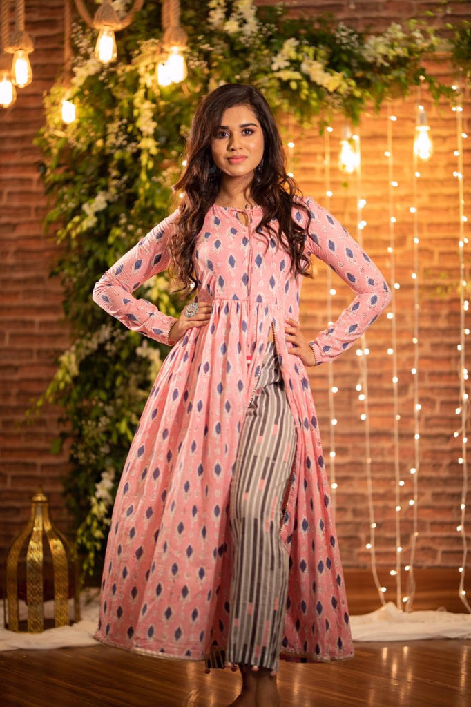 Pink Slit Kurta With Tassel Pants - Threeness Designs