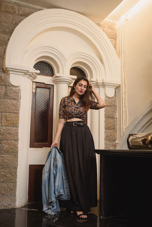 Kalamkari Croptop Skirt - Threeness Designs