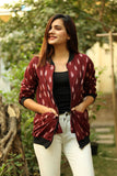 Maroon Ikat Bomber Jacket - Threeness Designs